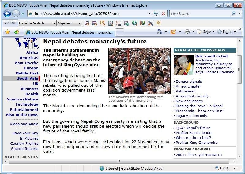 Screenshot vom Programm: Promt Personal, Englisch <=> Deutsch
